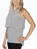 Breastfeeding Sleeveless Pull Up Top in Black & White Stripes