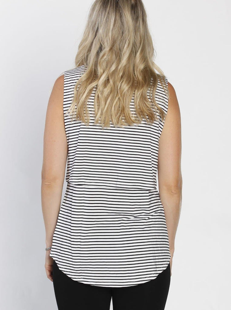 Breastfeeding Sleeveless Pull Up Top in Black & White Stripes back