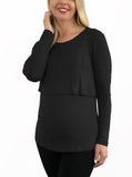 Breastfeeding Long Sleeve Pull Up Top in Black - Angel Maternity - Maternity clothes - shop online