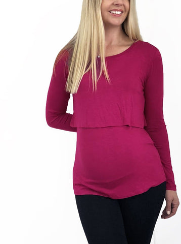 Cotton Nursing Long Sleeve Tee - Deep Grey