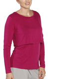 Breastfeeding Long Sleeve Pull Up Top in Fuscia - Angel Maternity - Maternity clothes - shop online