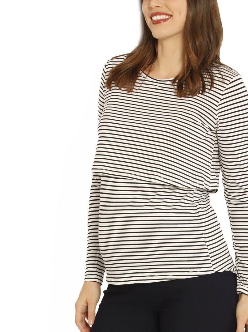 Nursing Long Sleeve Pull Up Top in White & Black Stripes