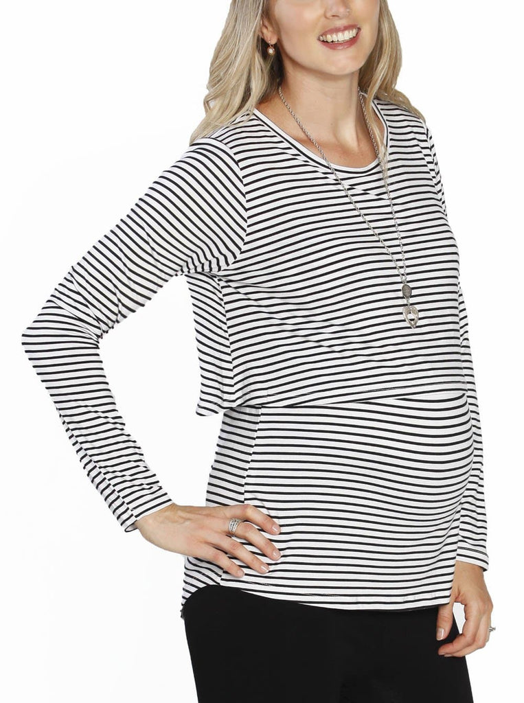 Breastfeeding Long Sleeve Pull Up Top in White & Black Stripes
