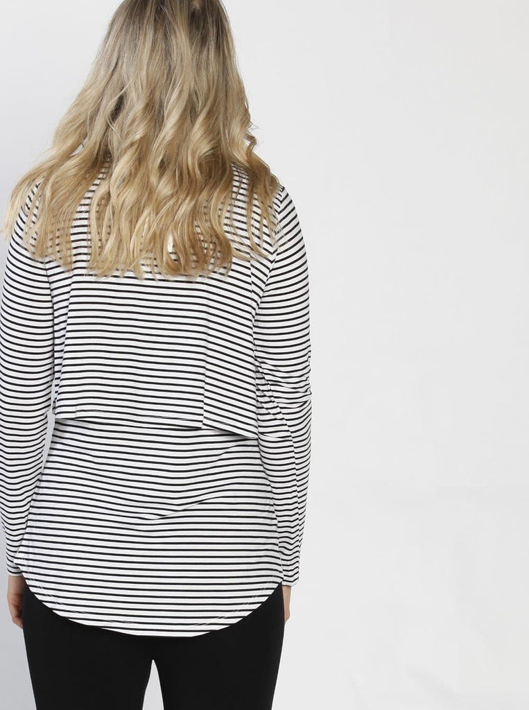 Breastfeeding Long Sleeve Pull Up Top in White & Black Stripes back