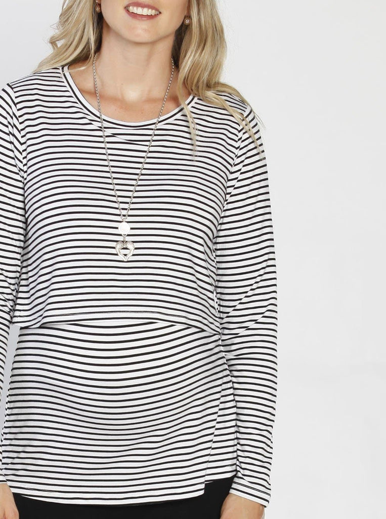 Breastfeeding Long Sleeve Pull Up Top in White & Black Stripes front