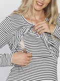 Breastfeeding Long Sleeve Pull Up Top in White & Black Stripes open