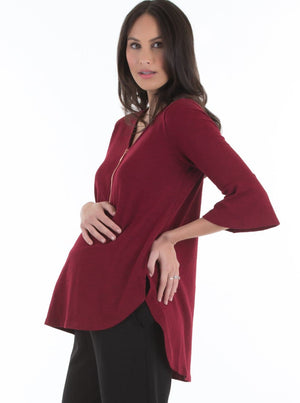 maternity zipper nursing top