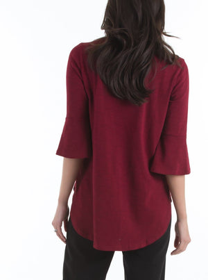Maternity Half Sleeve Zip Front Work Blouse in Red
