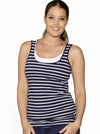 Basic Breastfeeding Nursing Tank Top in Navy Stripes - Angel Maternity - Maternity clothes - shop online