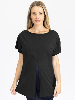 Reversible Maternity T-Shirt in Black front