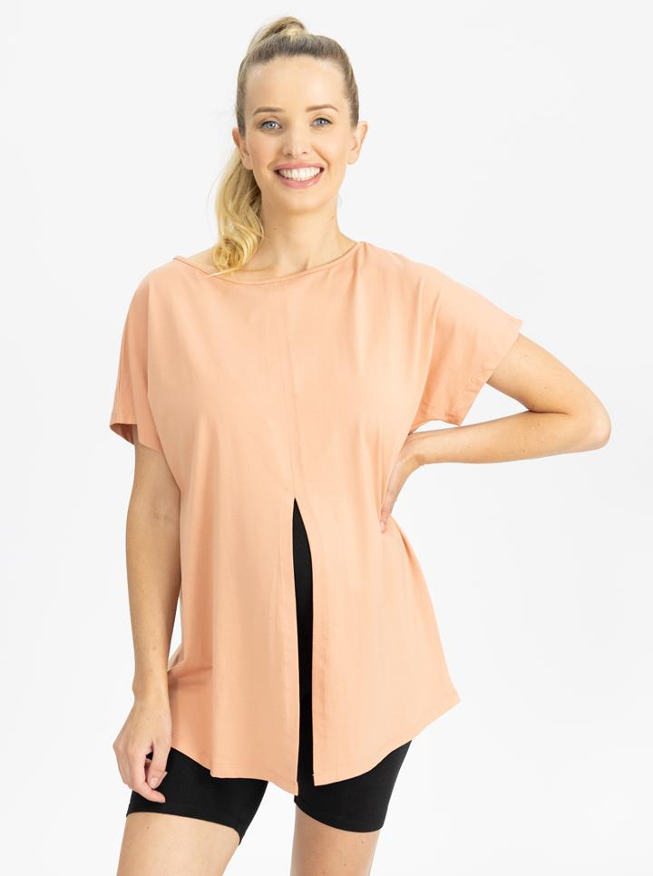 Reversible Maternity T-Shirt in Peach front