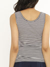 Nursing Sleeveless Pull Up Tank Top - Navy Stripes