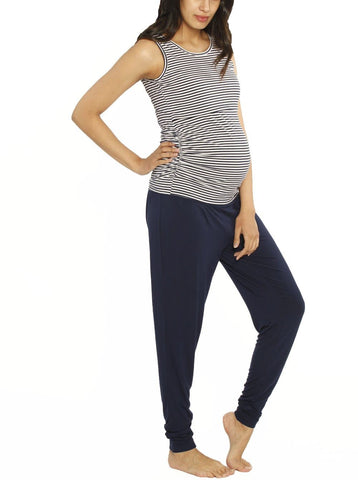 Maternity Knot Front Nursing Top - Blue