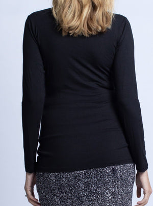 Maternity & Nursing Bamboo Crossover Long Sleeve Tee Top - Black