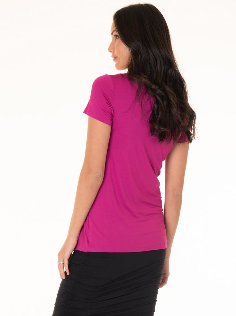 Maternity Knot Front Nursing Top - Pink maternity fashion