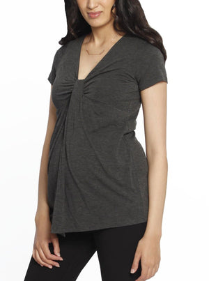 Knot Front Nursing Top - Marl Grey maternity top