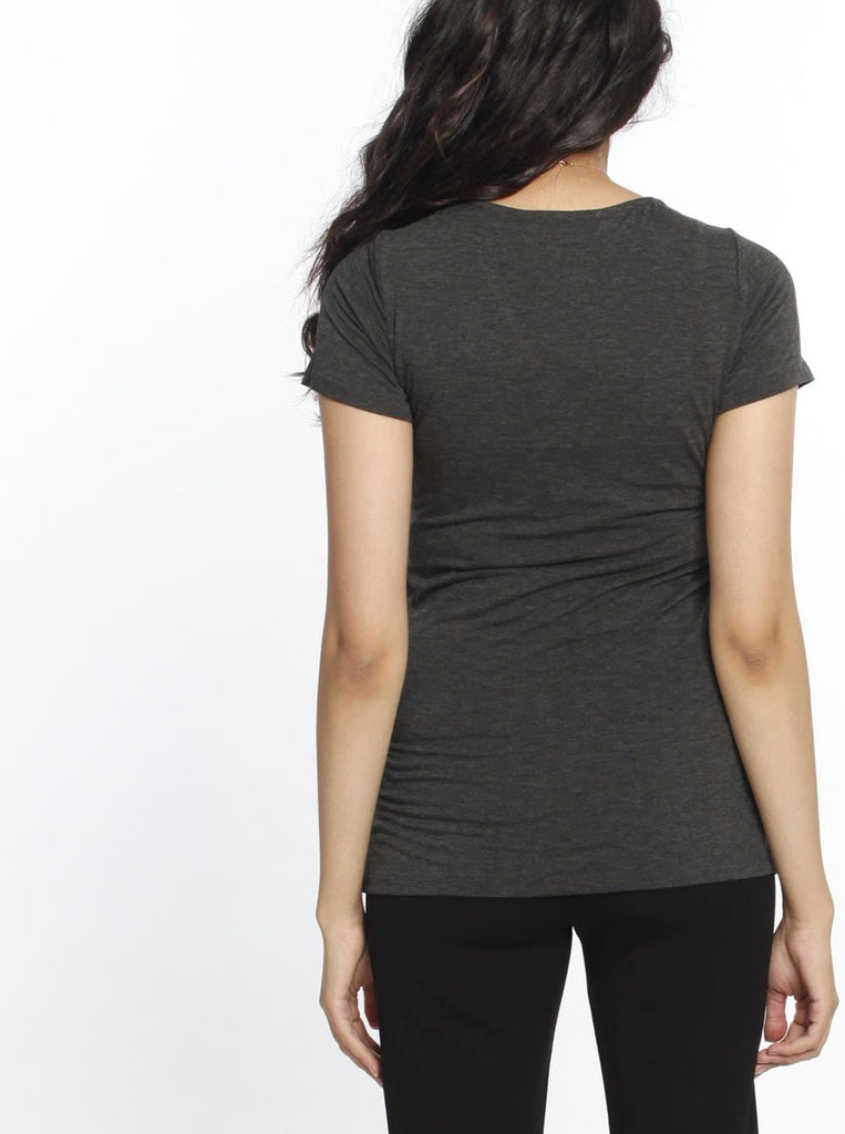 Knot Front Nursing Top - Dark Marl Grey