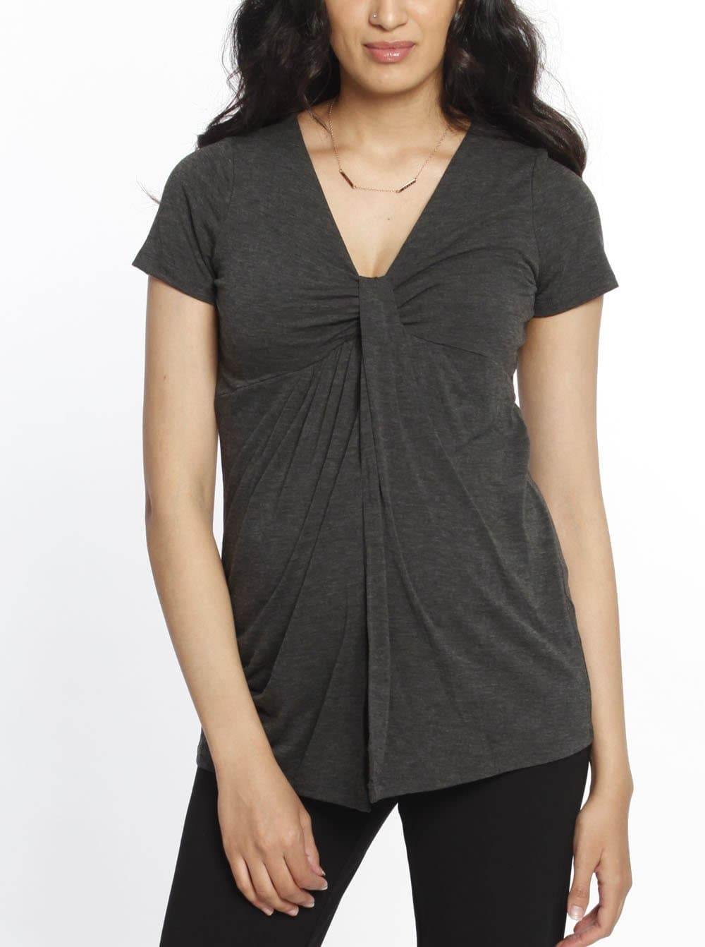 Knot Front Nursing Top - Marl Grey maternity online store