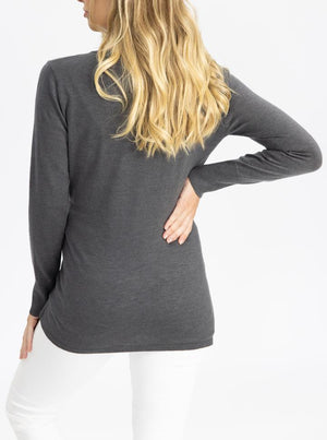 Maternity Merino Wool Knit Long Sleeve Top - Charcoal back