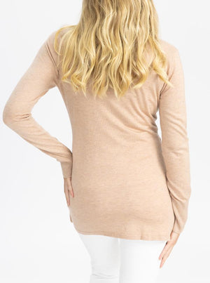 Maternity Merino Wool Knit Long Sleeve Top - Dusty Pink back