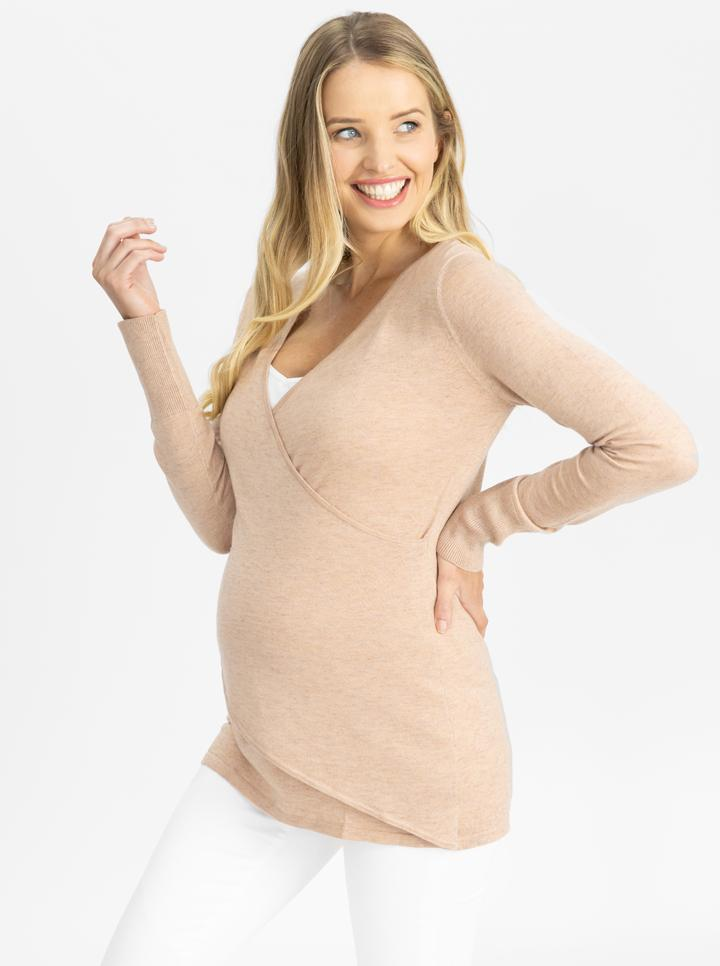 Maternity Merino Wool Knit Long Sleeve Top - Dusty Pink side