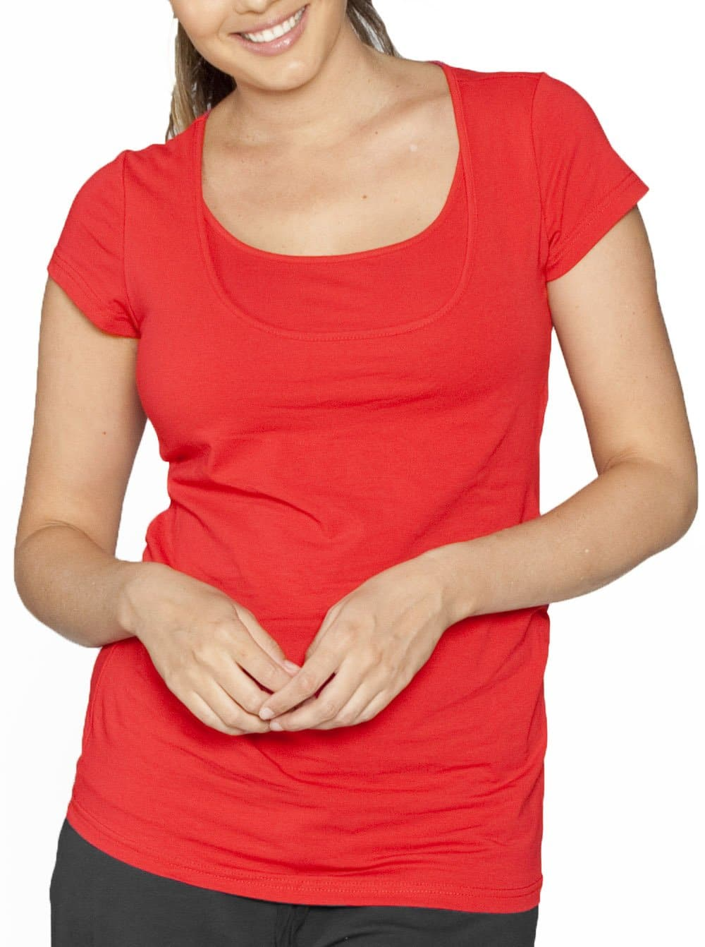 Basic Breastfeeding Short Sleeve Tee - Candy Red - Angel Maternity - Maternity clothes - shop online