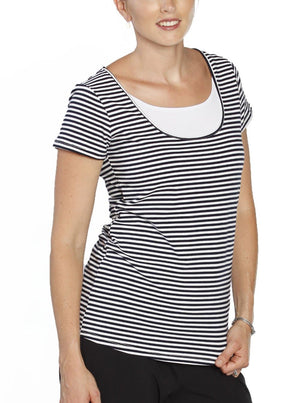 Breastfeeding Short Sleeve Tee Top - Black & White Stripes - Angel Maternity - Maternity clothes - shop online