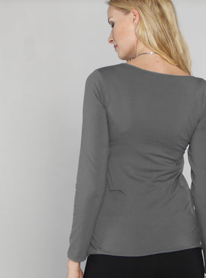 Cotton Nursing Long Sleeve Tee - Deep Grey back