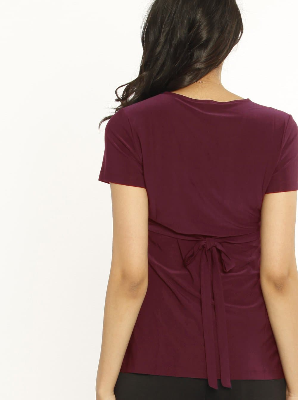 Maternity Wrap Nursing Work Top in Burgundy