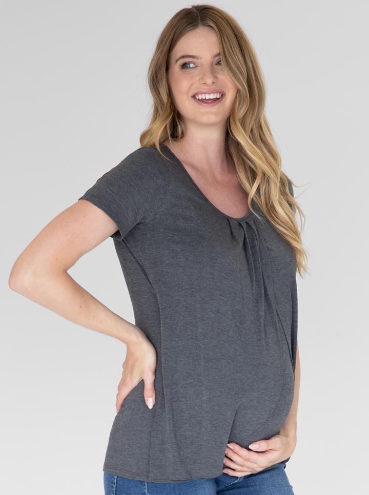 Petal Front Short Sleeve Top in Charcoal
