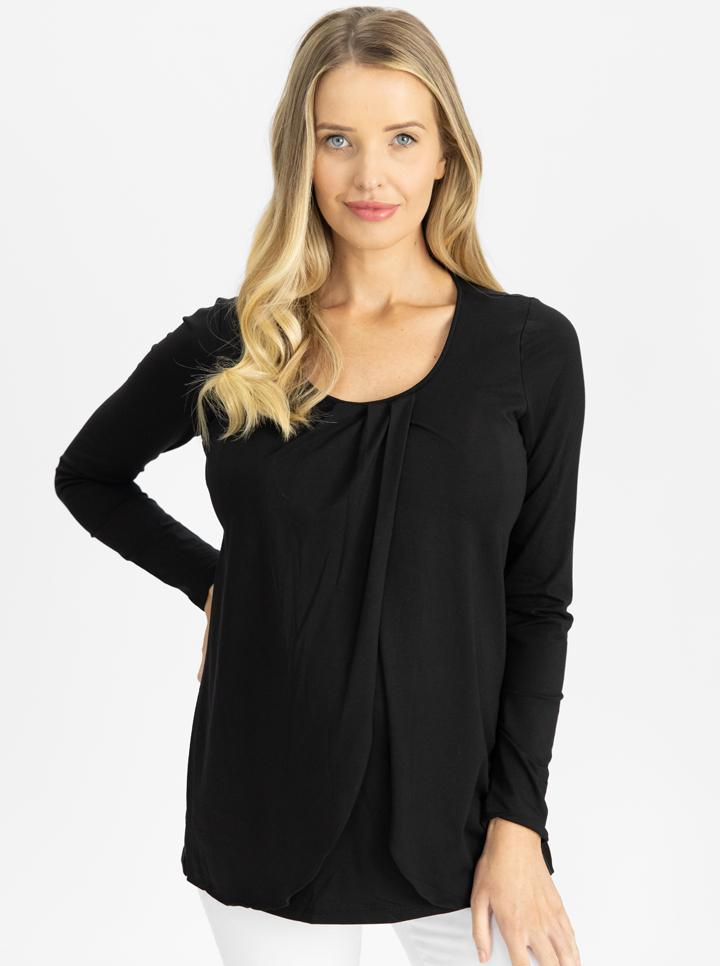 Maternity Petal Front Long Sleeve Nursing Top - Black
