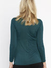 Maternity Petal Front Long Sleeve Nursing Top - Teal Blue