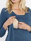 Breastfeeding Petal Front Long Sleeve Nursing Top - Teal Blue - Angel Maternity - Maternity clothes - shop online