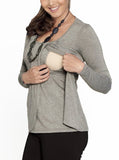 Breastfeeding Petal Front Long Sleeve Nursing Top - Light Grey - Angel Maternity - Maternity clothes - shop online