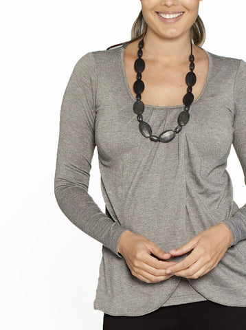 Busy Mummy Long Sleeve Bamboo Nursing Top in Grey