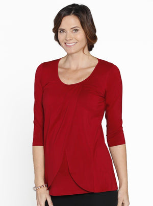 Breastfeeding Petal Front Mid Sleeve Nursing Top - Red - Angel Maternity - Maternity clothes - shop online