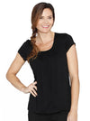 Breastfeeding Petal Front Short Sleeve Nursing Top - Black