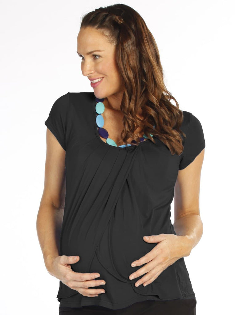 Breastfeeding Petal Front Short Sleeve Nursing Top - Black - Angel Maternity - Maternity clothes - shop online