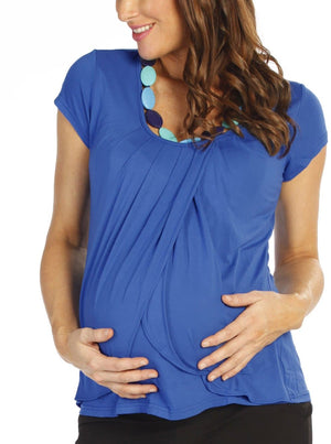 Petal Front Short Sleeve Nursing Top  - Blue