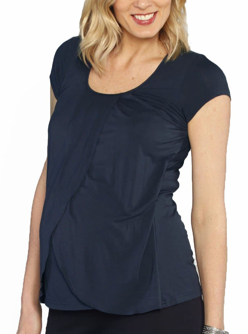Petal Front Short Sleeve Nursing Top - Deep Navy maternity tee
