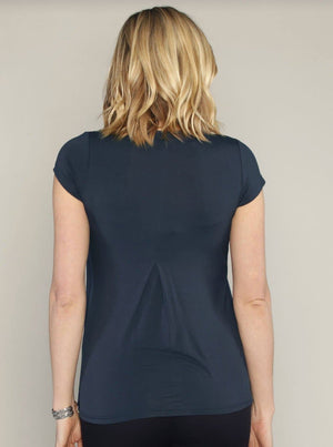 Maternity Petal Front Short Sleeve Nursing Top - Deep Navy
