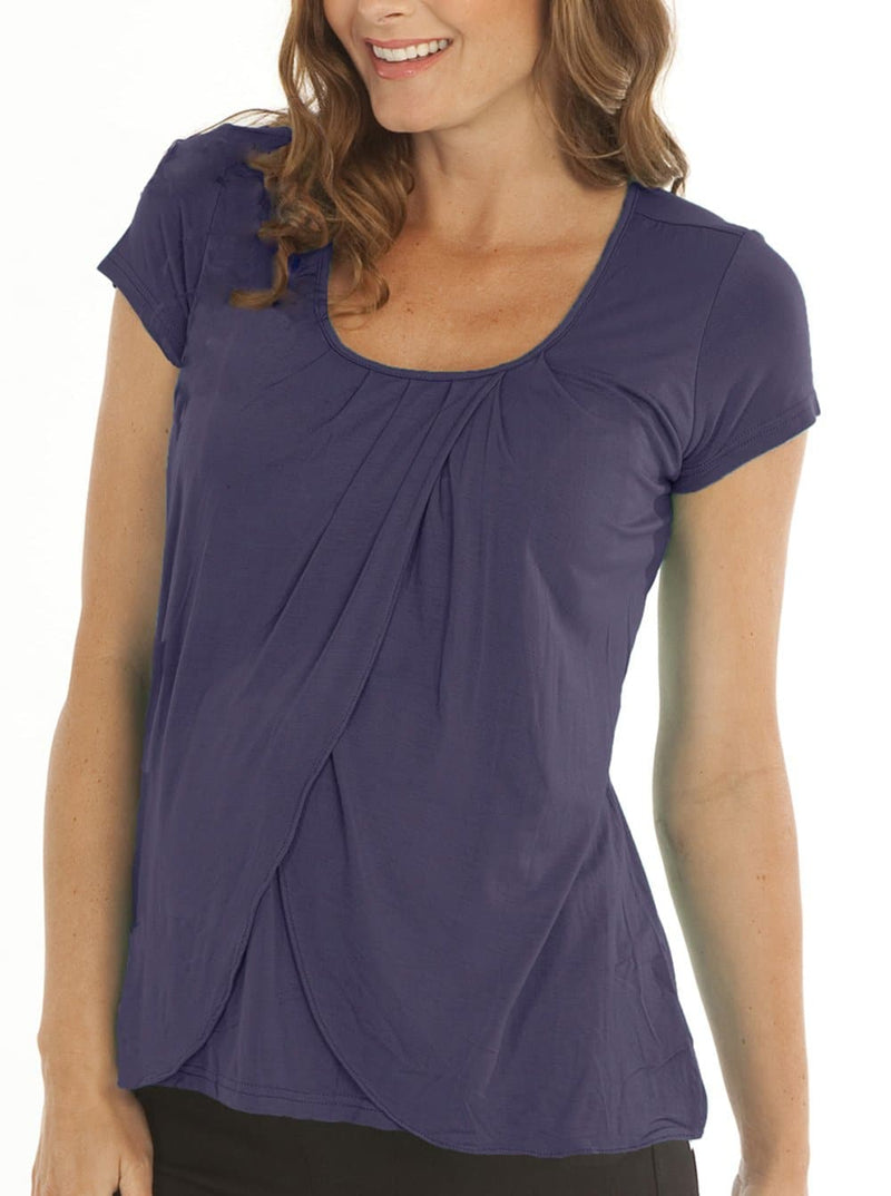 Breastfeeding Petal Front Short Sleeve Nursing Top  - Deep Violet - Angel Maternity - Maternity clothes - shop online