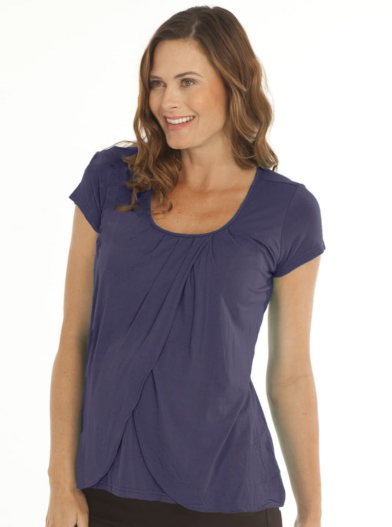 Breastfeeding Petal Front Short Sleeve Nursing Top  - Deep Violet