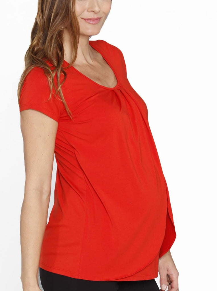 Petal Front Short Sleeve Nursing Top - Tangerine Red breastfeeding tee