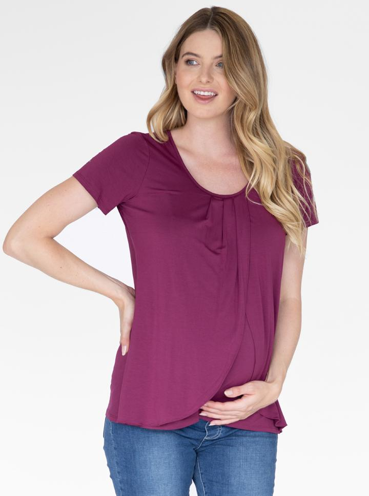 Petal Front Short Sleeve Nursing Top in Plum