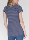 Maternity Petal Front Nursing Top in Navy Stripes back