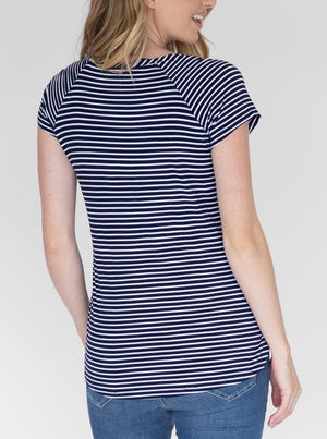 Maternity Petal Front Nursing Top - Navy Stripes