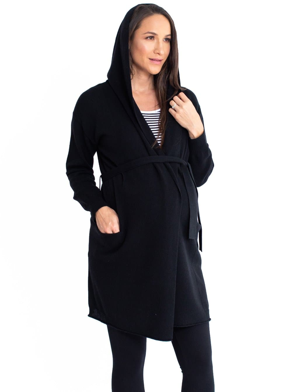 Maternity Knitted Waist Tie Long Hoodie Cardigan - Black