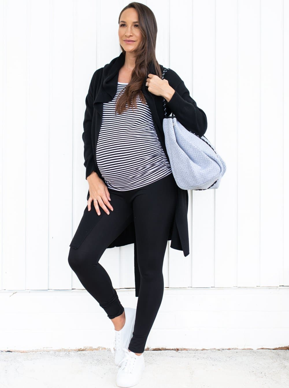 Knitted Merino Wool Hoodie Cardigan & Maternity Leggings Outfit