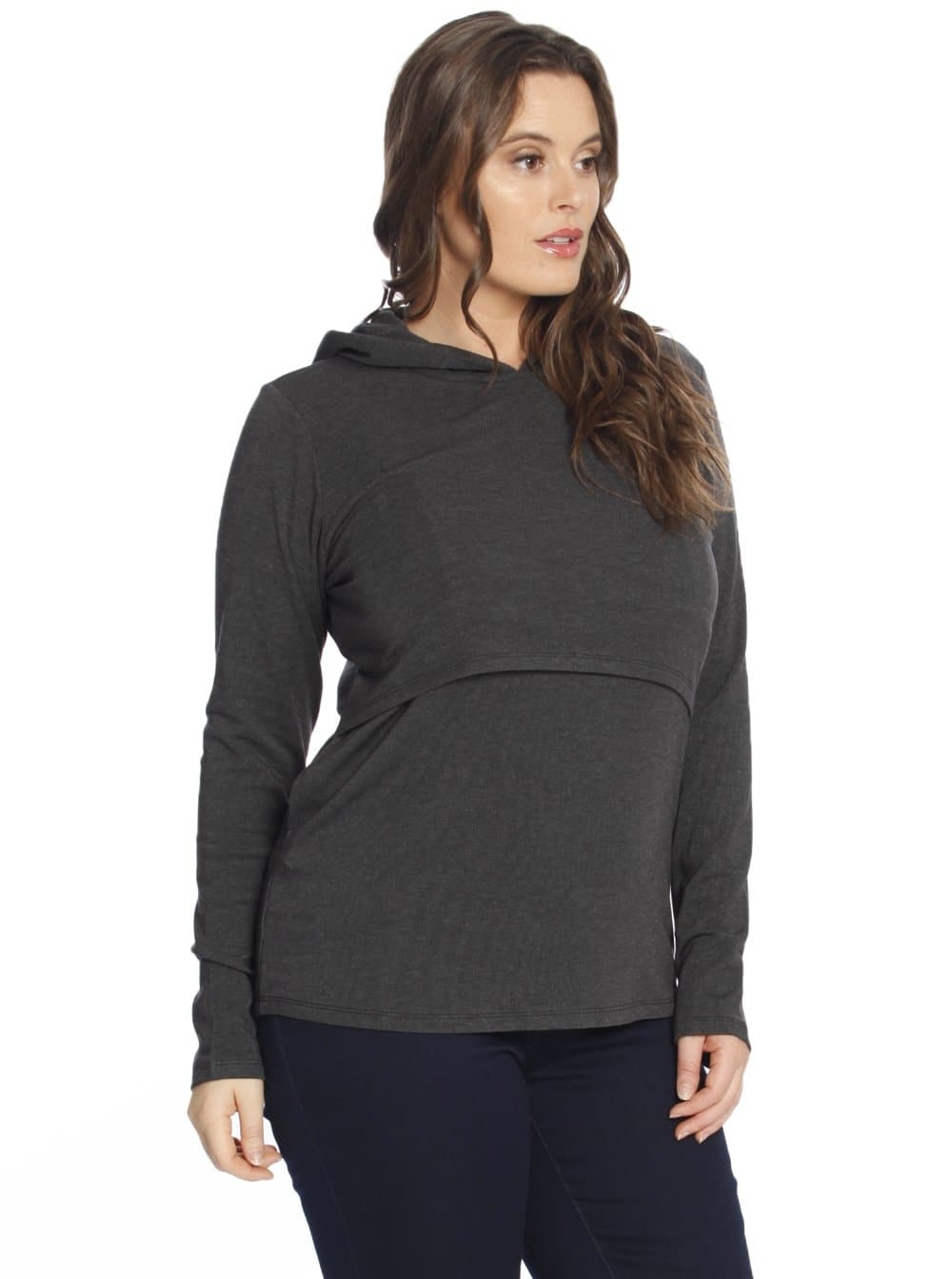 Nursing Hoodie Breastfeeding Jumper Top - Grey